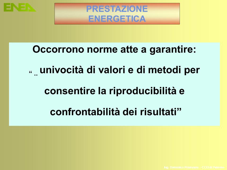 Ing. Domenico Prisinzano – CCEI di Palermo Occorrono norme atte a garantire:.. univocità di valori e di metodi per consentire la riproducibilità e con