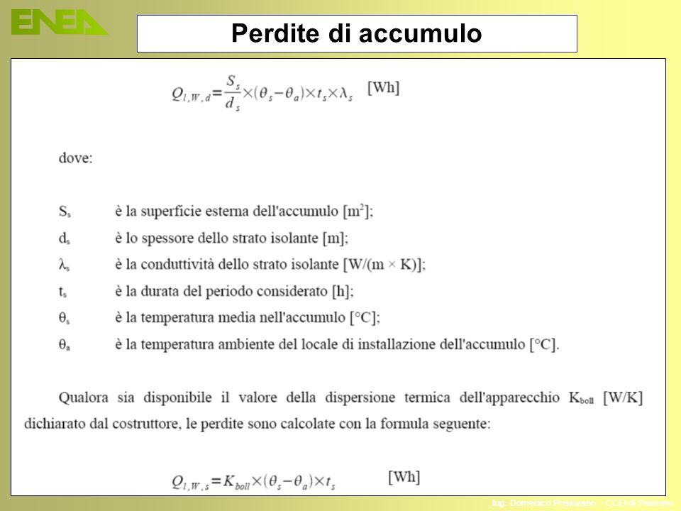 Ing. Domenico Prisinzano – CCEI di Palermo Perdite di accumulo