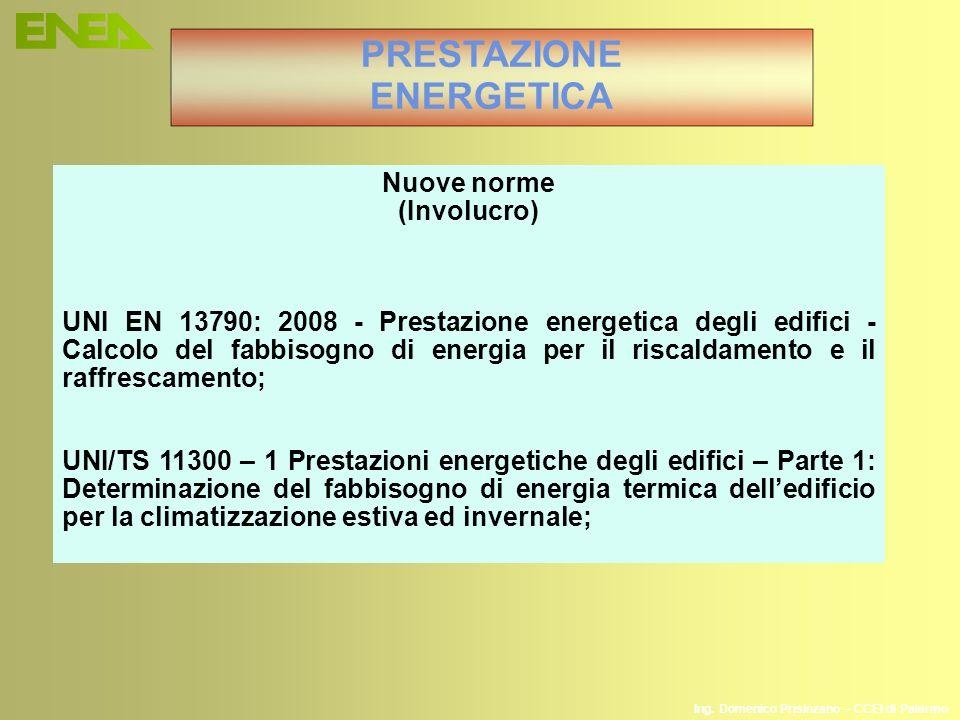 PRESTAZIONE ENERGETICA Nuove norme (Involucro) UNI EN 13790: 2008 - Prestazione energetica degli edifici - Calcolo del fabbisogno di energia per il ri