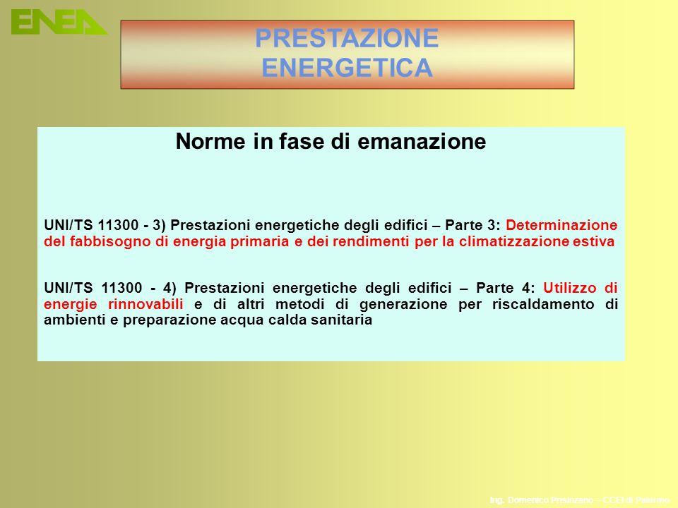 Ing. Domenico Prisinzano – CCEI di Palermo PRESTAZIONE ENERGETICA Norme in fase di emanazione UNI/TS 11300 - 3) Prestazioni energetiche degli edifici
