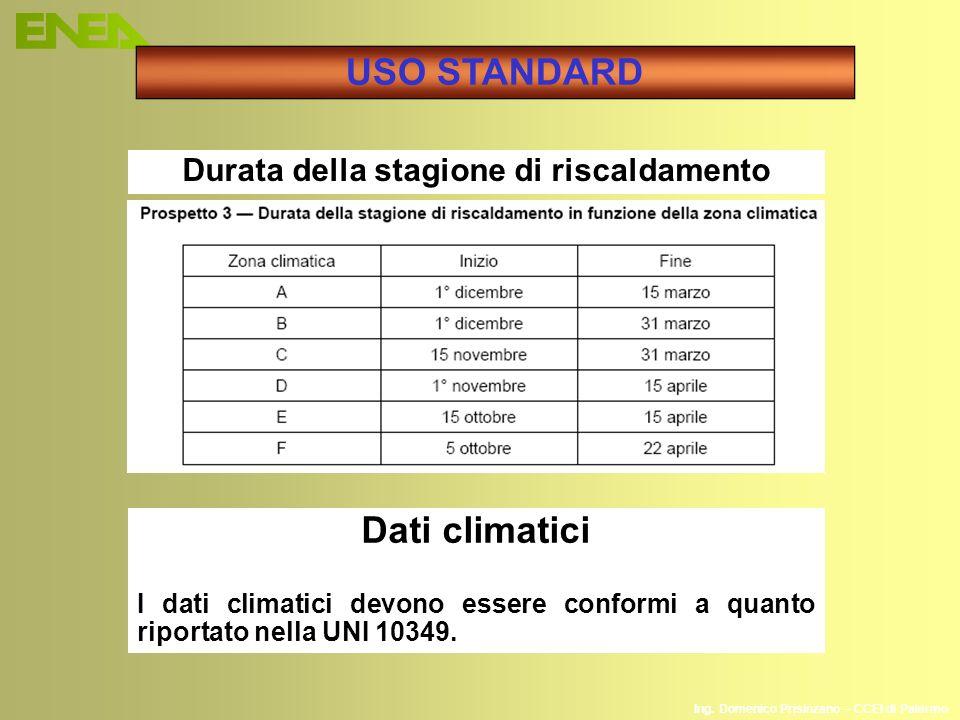 Ing. Domenico Prisinzano – CCEI di Palermo USO STANDARD Durata della stagione di riscaldamento Dati climatici I dati climatici devono essere conformi