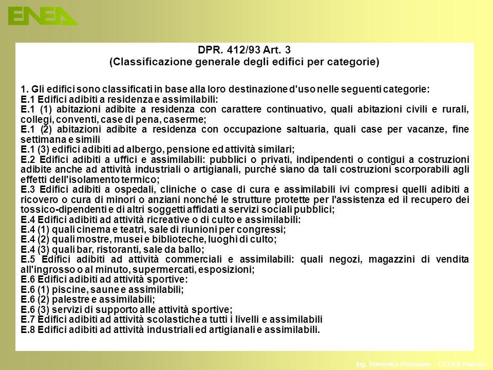 Ing. Domenico Prisinzano – CCEI di Palermo DPR. 412/93 Art. 3 (Classificazione generale degli edifici per categorie) 1. Gli edifici sono classificati