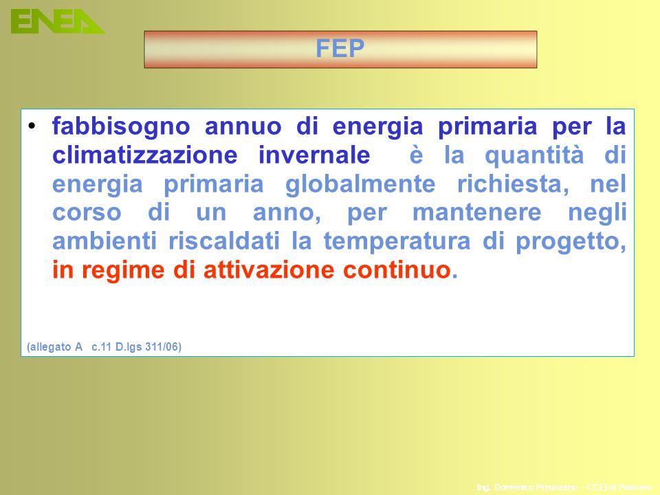 fabbisogno annuo di energia primaria per la climatizzazione invernale è la quantità di energia primaria globalmente richiesta, nel corso di un anno, p