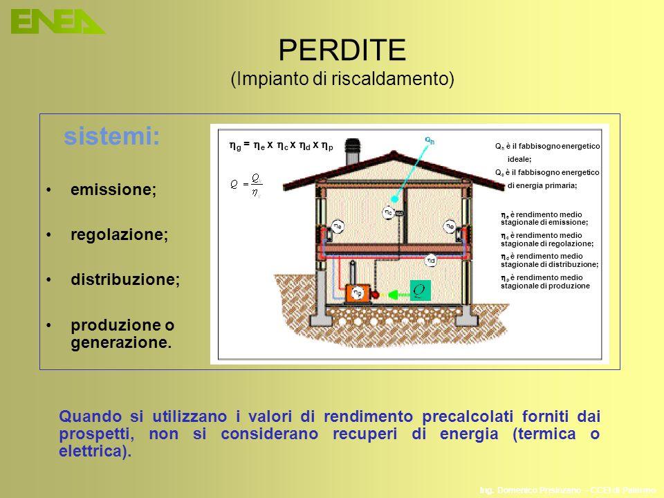 Ing. Domenico Prisinzano – CCEI di Palermo PERDITE (Impianto di riscaldamento) emissione; regolazione; distribuzione; produzione o generazione. sistem