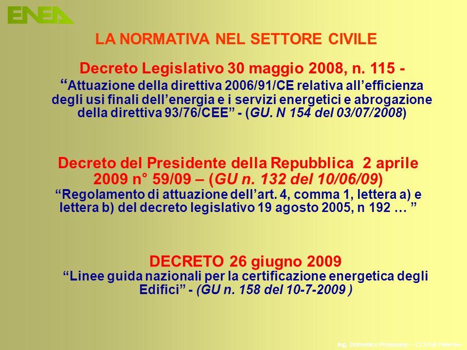 Ing. Domenico Prisinzano – CCEI di Palermo LA NORMATIVA NEL SETTORE CIVILE Decreto Legislativo 30 maggio 2008, n. 115 - Attuazione della direttiva 200