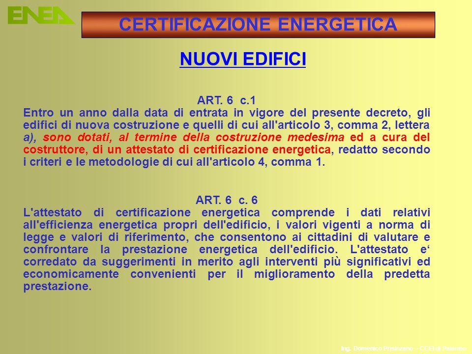 Ing. Domenico Prisinzano – CCEI di Palermo ART. 6 c.1 Entro un anno dalla data di entrata in vigore del presente decreto, gli edifici di nuova costruz