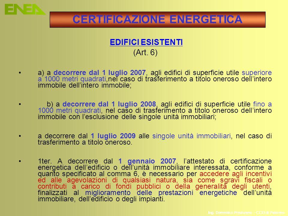 Ing. Domenico Prisinzano – CCEI di Palermo EDIFICI ESISTENTI (Art. 6) a) a decorrere dal 1 luglio 2007, agli edifici di superficie utile superiore a 1