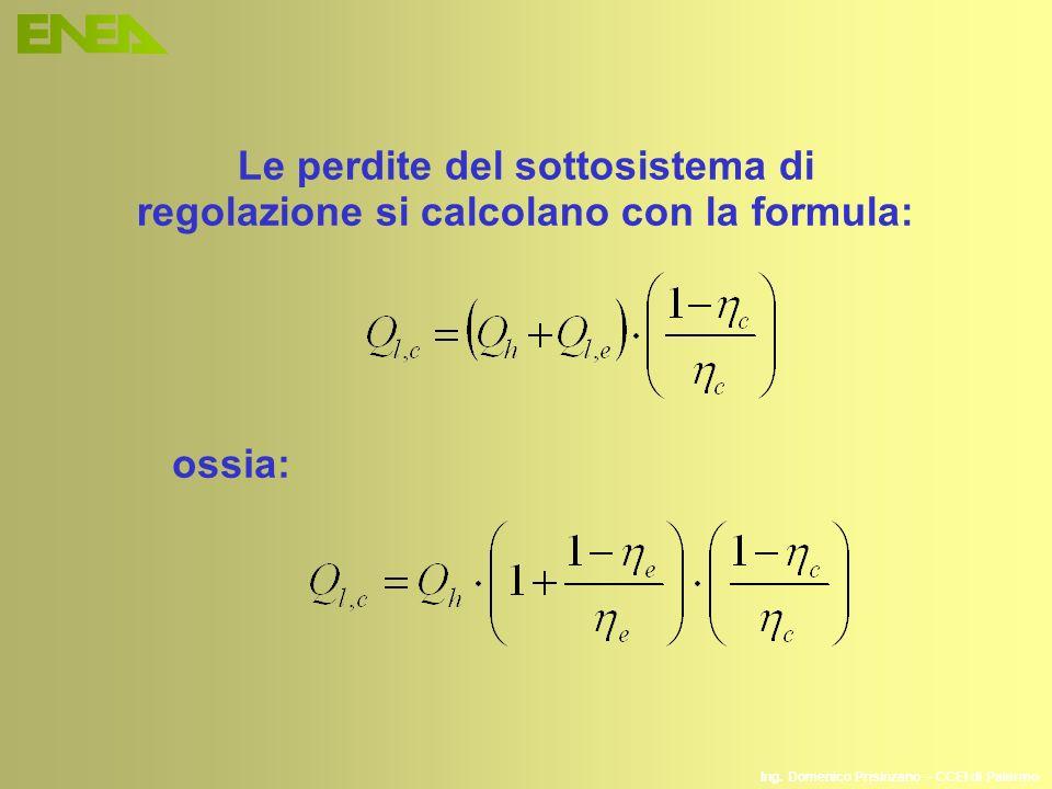 Ing. Domenico Prisinzano – CCEI di Palermo Le perdite del sottosistema di regolazione si calcolano con la formula: ossia: