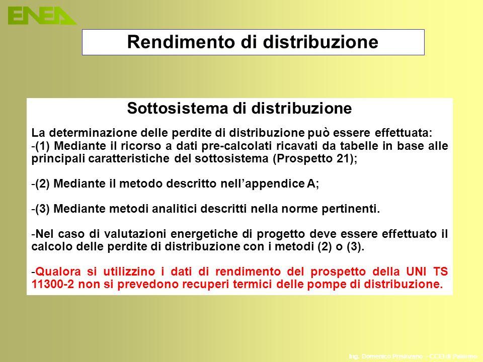 Ing. Domenico Prisinzano – CCEI di Palermo Rendimento di distribuzione Sottosistema di distribuzione La determinazione delle perdite di distribuzione