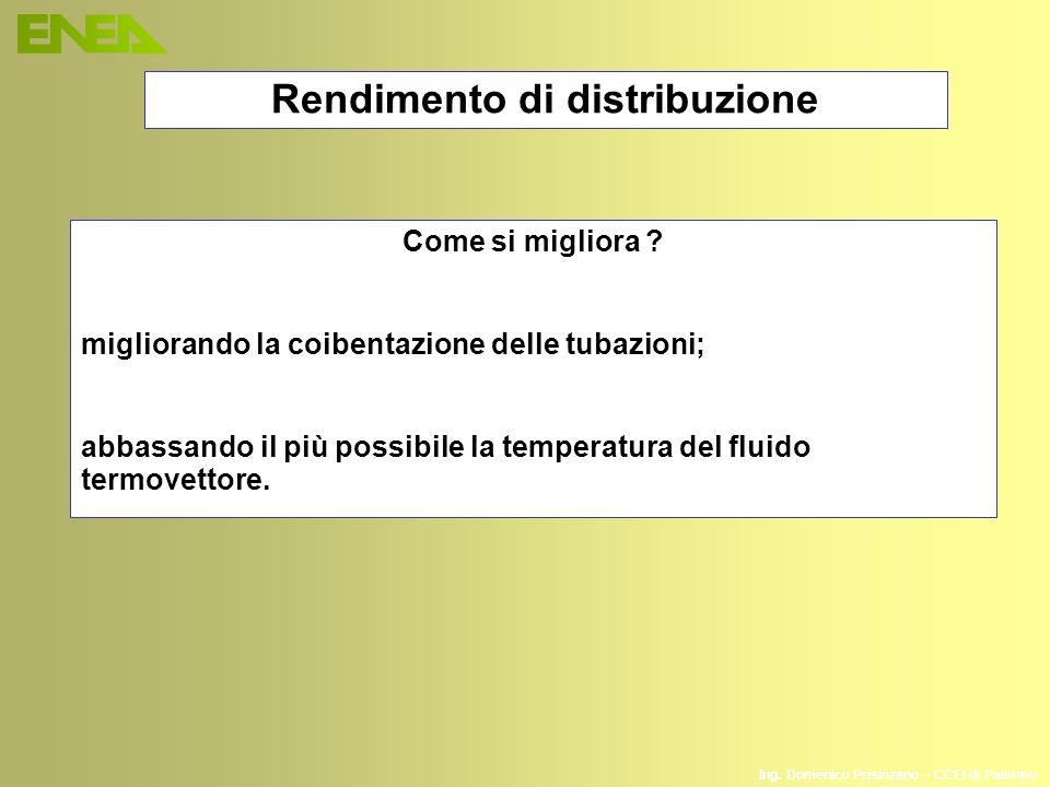 Ing. Domenico Prisinzano – CCEI di Palermo Come si migliora ? migliorando la coibentazione delle tubazioni; abbassando il più possibile la temperatura