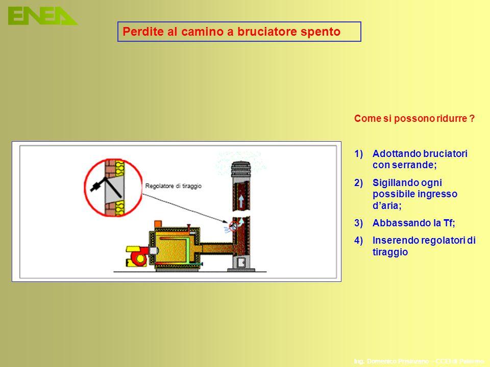 Ing. Domenico Prisinzano – CCEI di Palermo Perdite al camino a bruciatore spento Come si possono ridurre ? 1)Adottando bruciatori con serrande; 2)Sigi