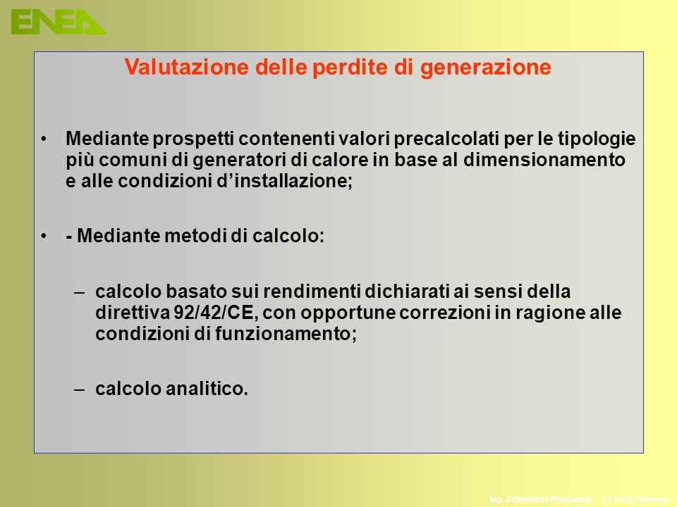 Ing. Domenico Prisinzano – CCEI di Palermo Valutazione delle perdite di generazione Mediante prospetti contenenti valori precalcolati per le tipologie