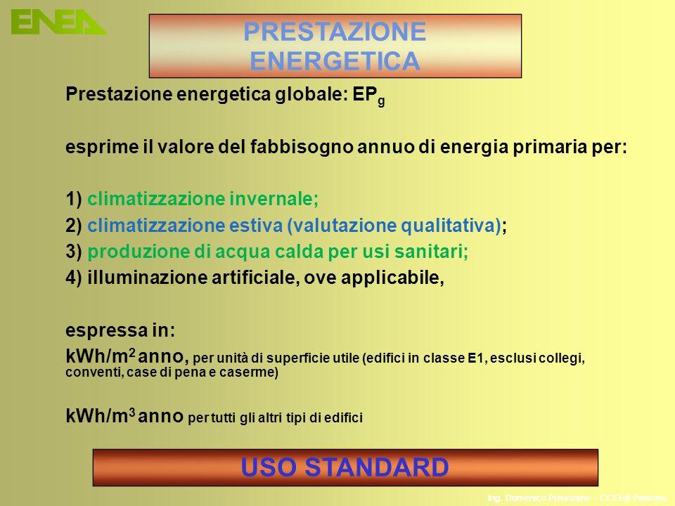 Ing. Domenico Prisinzano – CCEI di Palermo Prestazione energetica globale: EP g esprime il valore del fabbisogno annuo di energia primaria per: 1) cli