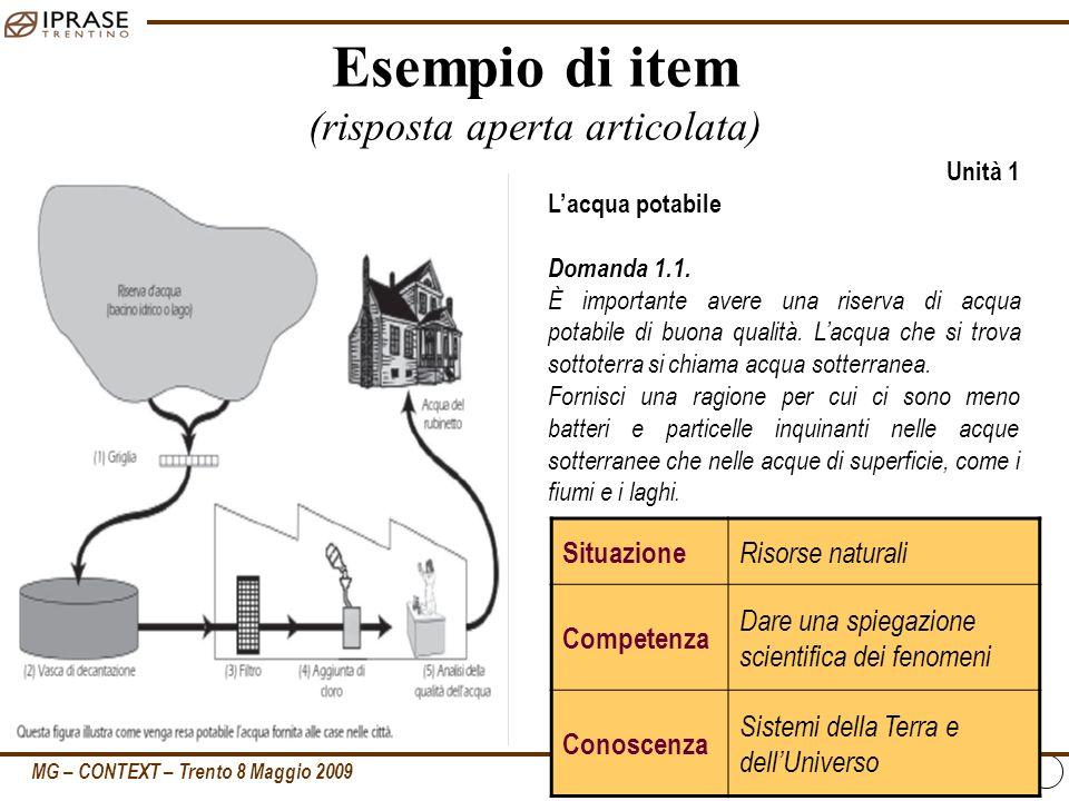 MG – CONTEXT – Trento 8 Maggio 2009 11 Esempio di item (risposta aperta articolata) Unità 1 Lacqua potabile Domanda 1.1. È importante avere una riserv