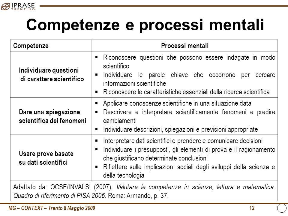 MG – CONTEXT – Trento 8 Maggio 2009 12 Competenze e processi mentali CompetenzeProcessi mentali Individuare questioni di carattere scientifico Riconos