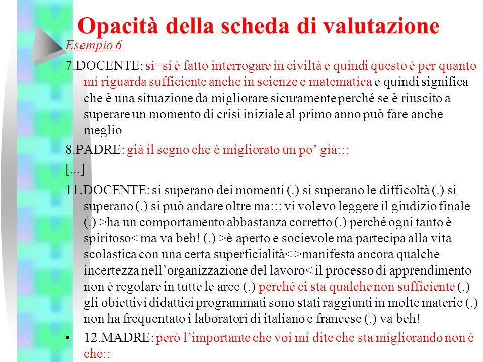 Opacità della scheda di valutazione Esempio 6 7.DOCENTE: sì=si è fatto interrogare in civiltà e quindi questo è per quanto mi riguarda sufficiente anc