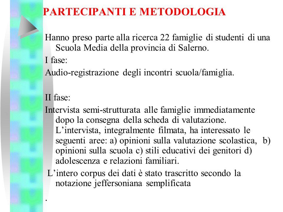 PARTECIPANTI E METODOLOGIA Hanno preso parte alla ricerca 22 famiglie di studenti di una Scuola Media della provincia di Salerno. I fase: Audio-regist