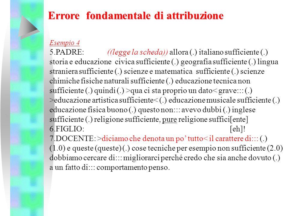 Esempio 4 5.PADRE: ((legge la scheda)) allora (.) italiano sufficiente (.) storia e educazione civica sufficiente (.) geografia sufficiente (.) lingua