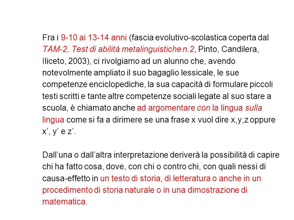 Fra i 9-10 ai 13-14 anni (fascia evolutivo-scolastica coperta dal TAM-2, Test di abilità metalinguistiche n.2, Pinto, Candilera, Iliceto, 2003), ci ri