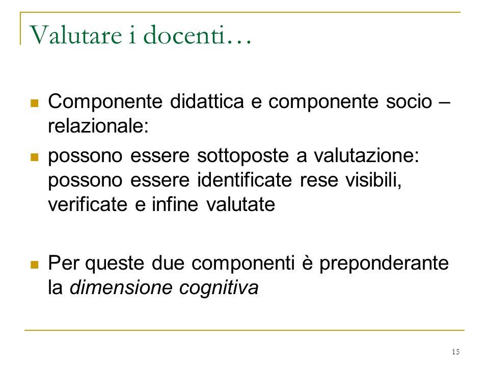 15 Valutare i docenti… Componente didattica e componente socio – relazionale: possono essere sottoposte a valutazione: possono essere identificate res