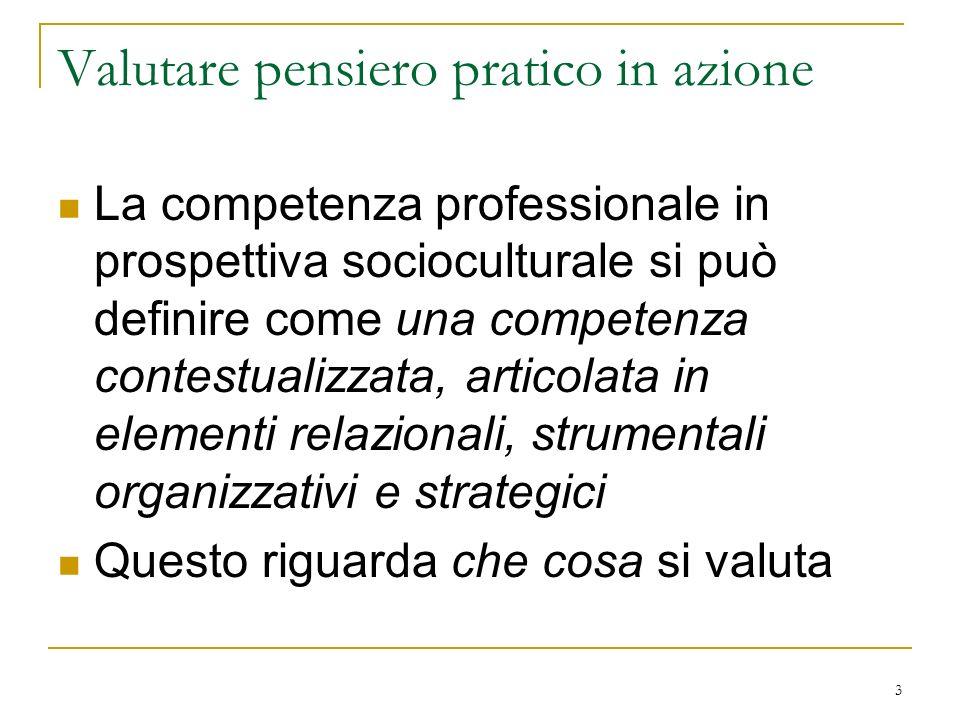 3 Valutare pensiero pratico in azione La competenza professionale in prospettiva socioculturale si può definire come una competenza contestualizzata,