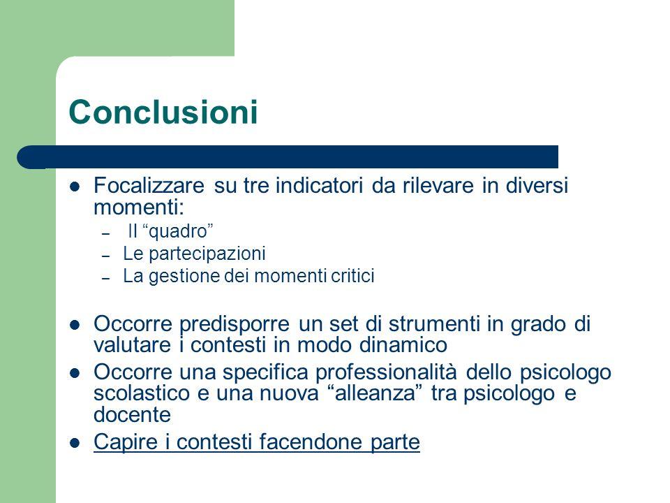 Conclusioni Focalizzare su tre indicatori da rilevare in diversi momenti: – Il quadro – Le partecipazioni – La gestione dei momenti critici Occorre pr