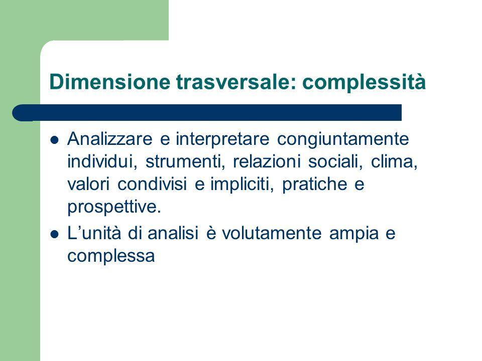 Dimensione trasversale: complessità Analizzare e interpretare congiuntamente individui, strumenti, relazioni sociali, clima, valori condivisi e implic