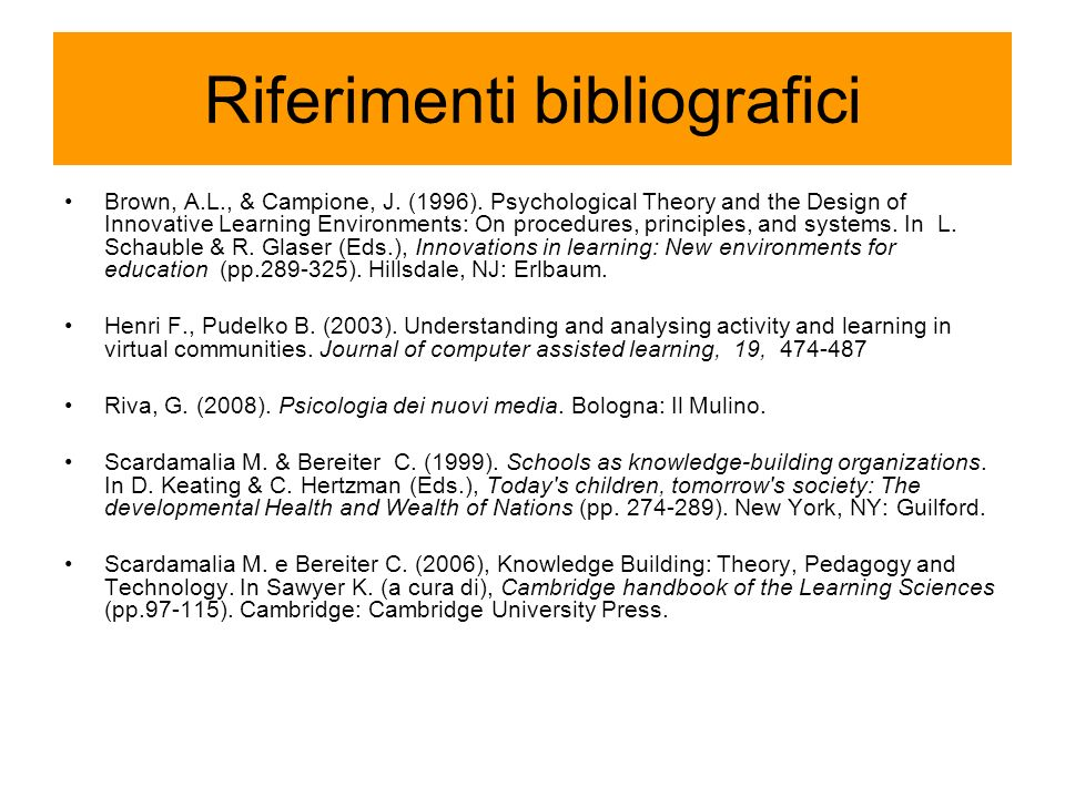 Riferimenti bibliografici Brown, A.L., & Campione, J. (1996). Psychological Theory and the Design of Innovative Learning Environments: On procedures,