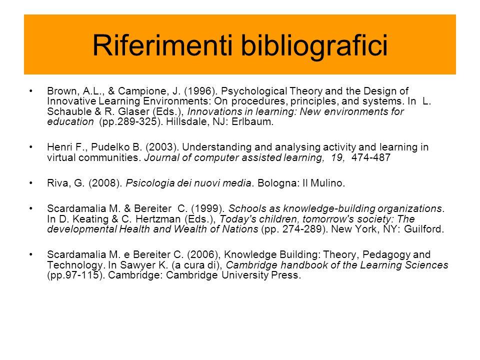 Riferimenti bibliografici Brown, A.L., & Campione, J.