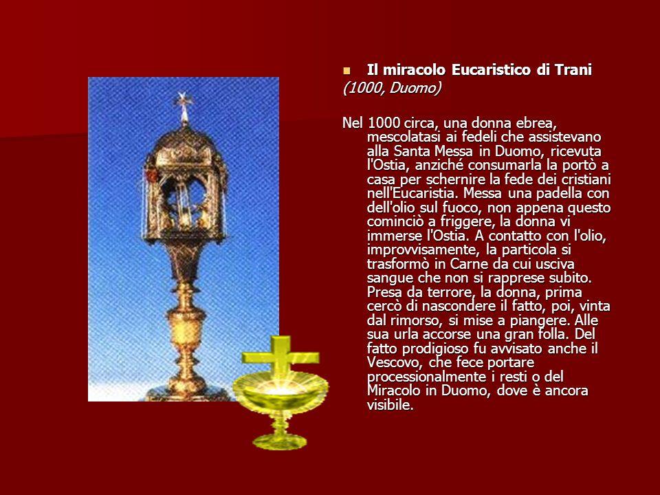 Il miracolo cucaristico di Ferrara Il miracolo cucaristico di Ferrara (28 marzo 1171, Basilica di Santa Maria in Vado) Avvenne il 28 marzo 1171, giorno di Pasqua, durante la Santa Messa celebrata da Padre Pietro da Verona; prima della comunione, nello spezzare l Ostia, da questa sprizzò un fiotto di sangue che andò ad aspergere la volticina bassa sopra l altare, che è ancora visibilmente sporca di sangue