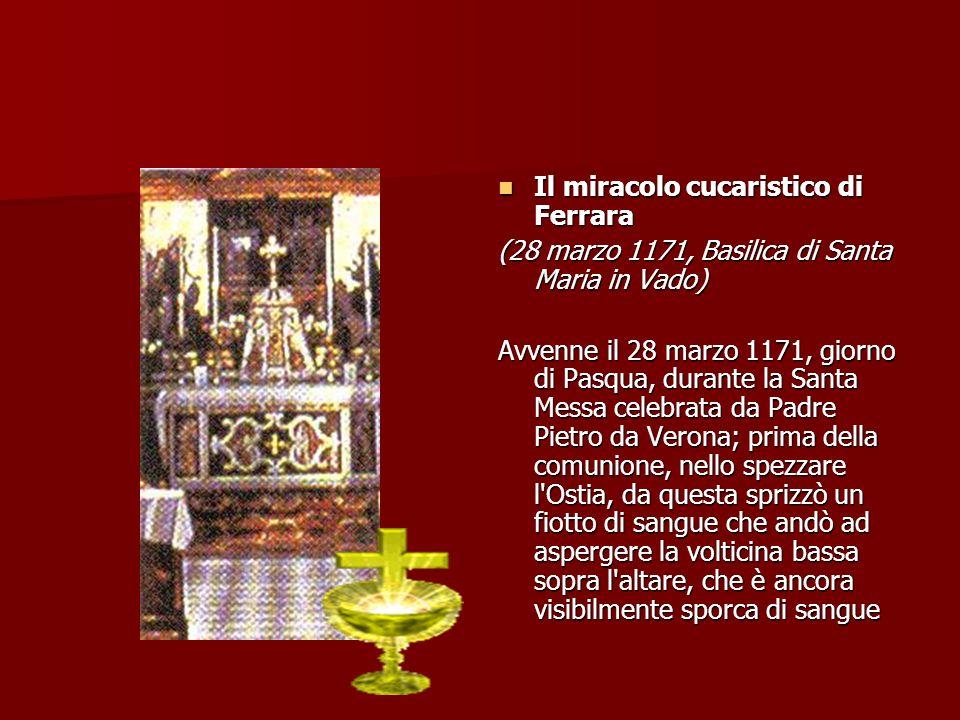 Il Miracolo Eucaristico di Alatri Il Miracolo Eucaristico di Alatri (1228, Cattedrale San Paolo Apostolo) Il fatto prodigioso si data fra la fine del 1227 e il 1228, una ragazza, poco più che adolescente, addolorata per un amore non più corrisposto, si rivolse ad una maga.