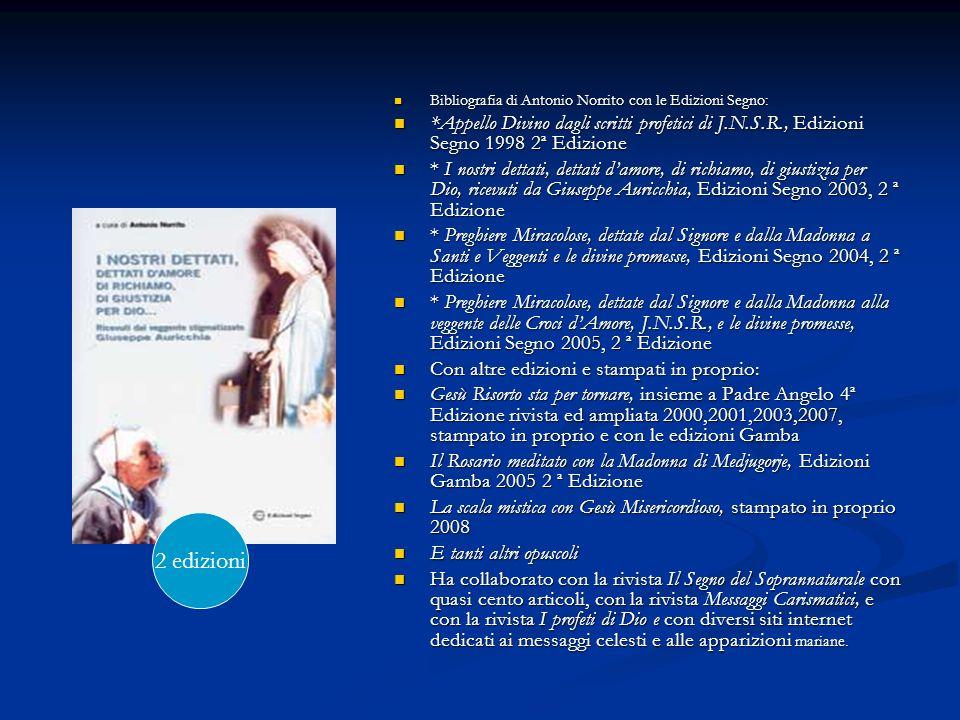 Bibliografia di Antonio Norrito con le Edizioni Segno: Bibliografia di Antonio Norrito con le Edizioni Segno: *Appello Divino dagli scritti profetici
