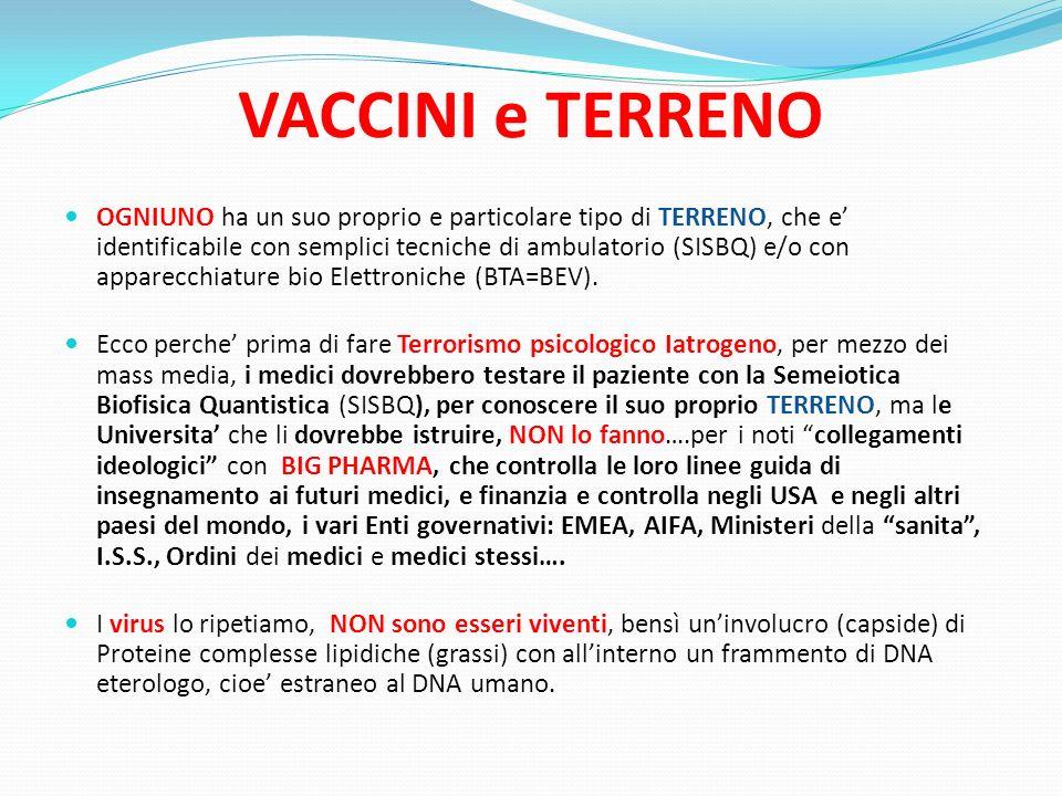 VACCINI e TERRENO NESSUN Ente governativo: FDA (USA) - EMEA (EU) – in Italia, Ministero della Salute, ISS + NAS, effettua un qualsiasi tipo di analisi dei vaccini in commercio, per controllarne il contenuto e/o la tossicita dei vari prodotti inseriti in essi, salvo su richiesta di un Giudice del Tribunale.