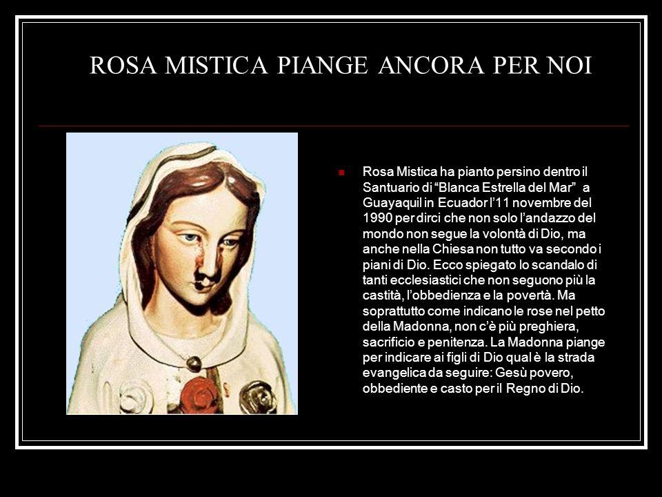 ROSA MISTICA PIANGE ANCORA PER NOI Rosa Mistica ha pianto persino dentro il Santuario di Blanca Estrella del Mar a Guayaquil in Ecuador l11 novembre d