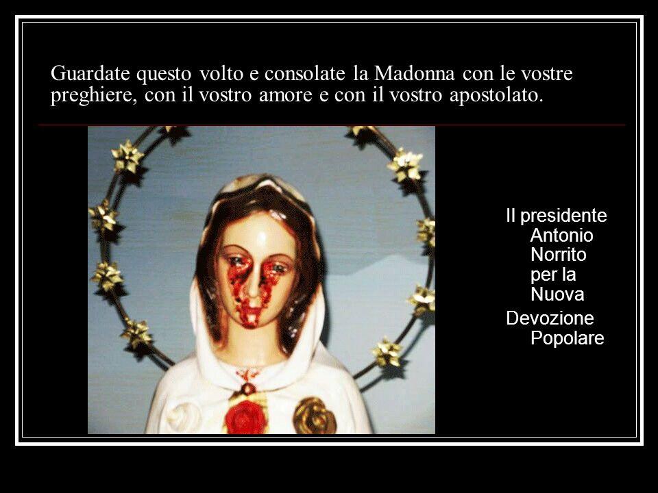 Guardate questo volto e consolate la Madonna con le vostre preghiere, con il vostro amore e con il vostro apostolato. Il presidente Antonio Norrito pe