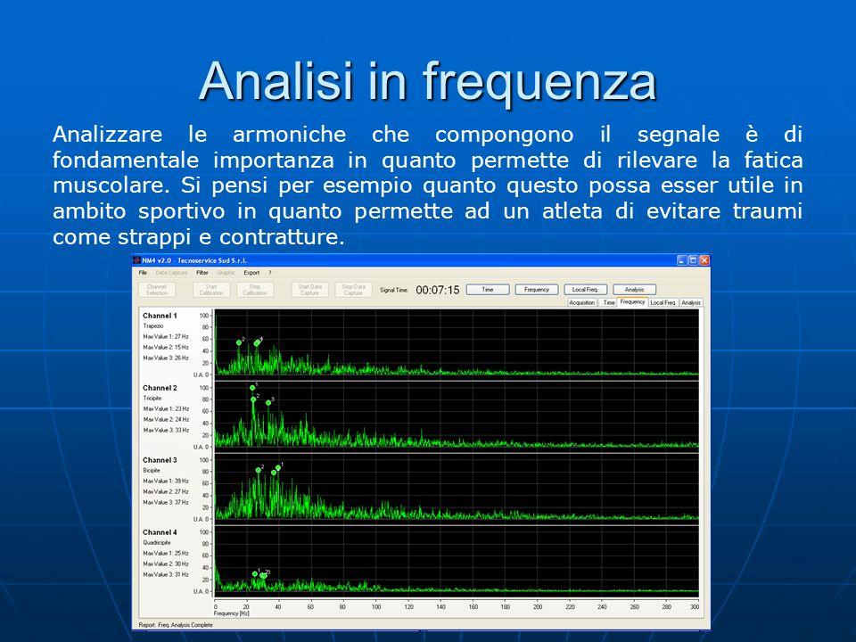 Analisi tempo-frequenza Questo tipo di analisi, definita anche come spettrogramma, è utile per capire le armoniche che compongono il segnale con il passare del tempo.
