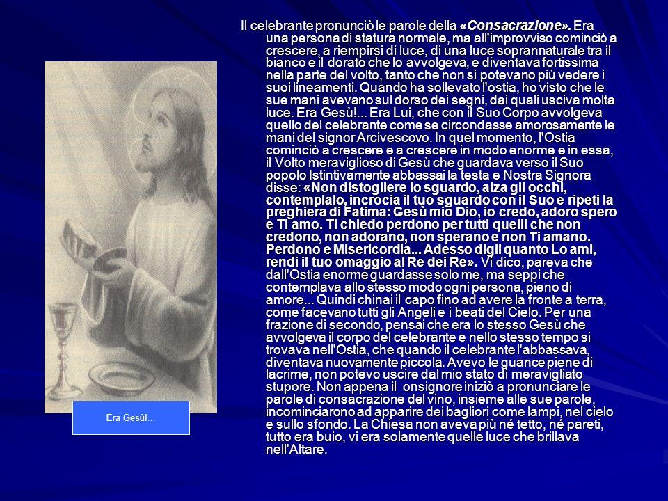 All improvviso sospeso in aria, vidi Gesù, crocefisso, dalla testa fino alla parte bassa del torace.