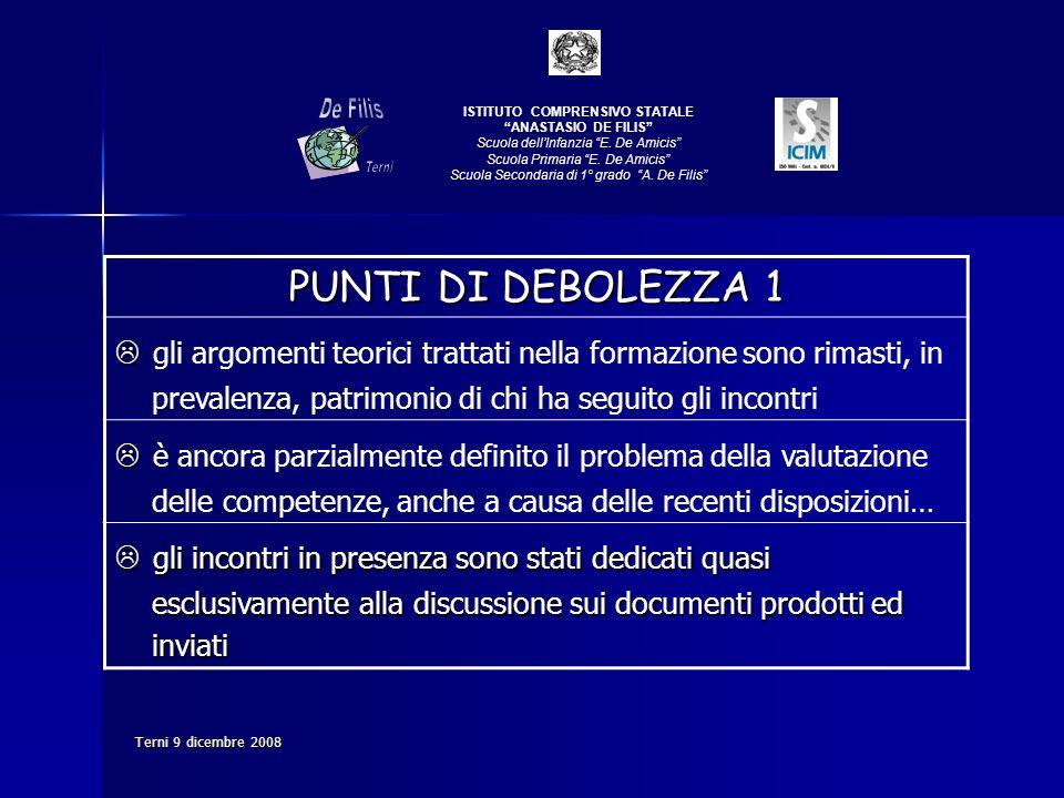 Terni 9 dicembre 2008 PUNTI DI DEBOLEZZA 1 gli argomenti teorici trattati nella formazione sono rimasti, in prevalenza, patrimonio di chi ha seguito g