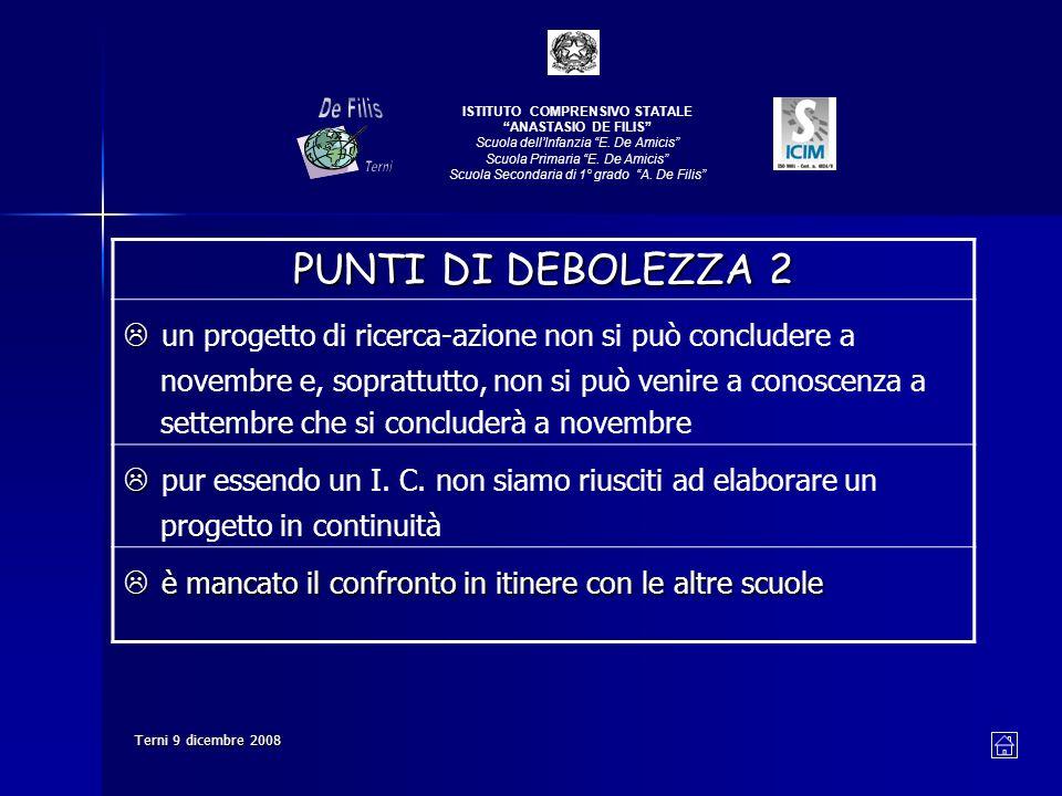 Terni 9 dicembre 2008 PUNTI DI DEBOLEZZA 2 un progetto di ricerca-azione non si può concludere a novembre e, soprattutto, non si può venire a conoscenza a settembre che si concluderà a novembre pur essendo un I.
