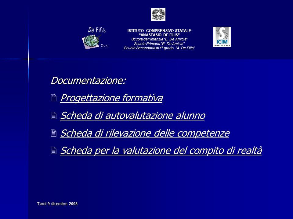 Terni 9 dicembre 2008 Documentazione: Progettazione formativa Scheda di autovalutazione alunno Scheda di rilevazione delle competenze Scheda per la va