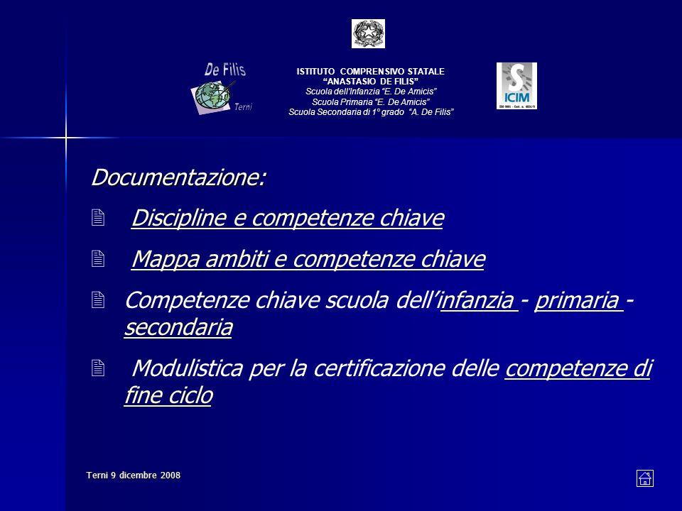 Terni 9 dicembre 2008 ISTITUTO COMPRENSIVO STATALE ANASTASIO DE FILIS Scuola dellInfanzia E.