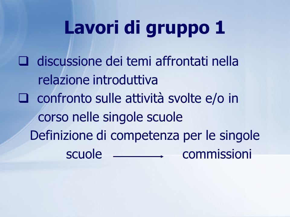 Lavori di gruppo 1 discussione dei temi affrontati nella relazione introduttiva confronto sulle attività svolte e/o in corso nelle singole scuole Defi