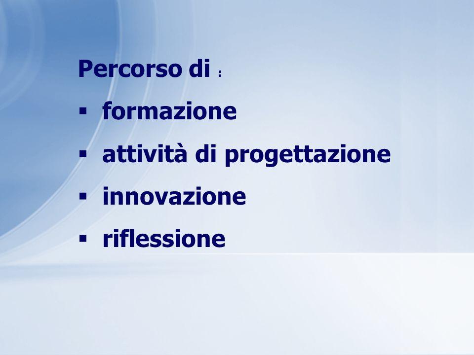 Percorso di : formazione attività di progettazione innovazione riflessione