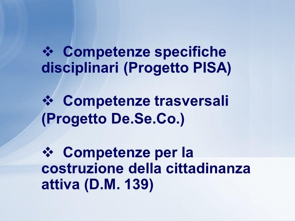 Competenze specifiche disciplinari (Progetto PISA) Competenze trasversali (Progetto De.Se.Co.) Competenze per la costruzione della cittadinanza attiva