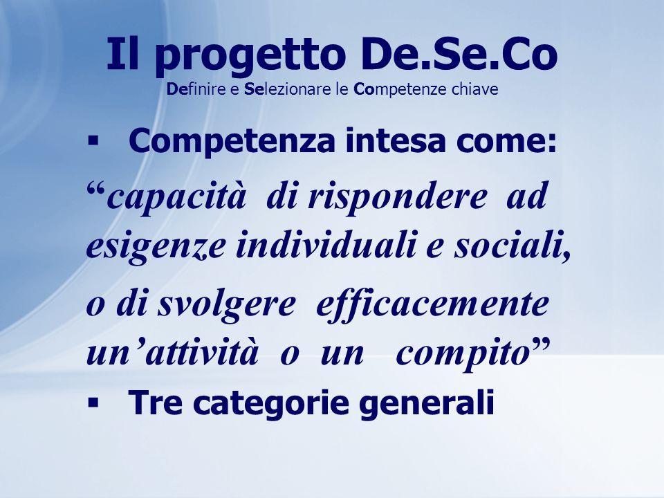 Il progetto De.Se.Co Definire e Selezionare le Competenze chiave Competenza intesa come: capacità di rispondere ad esigenze individuali e sociali, o d