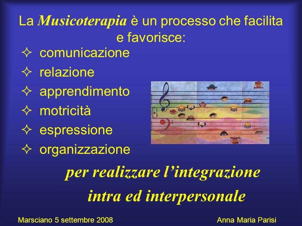 La Musicoterapia è un processo che facilita e favorisce: comunicazione relazione apprendimento motricità espressione organizzazione per realizzare lin