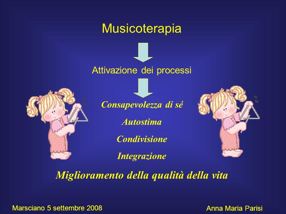 Musicoterapia Attivazione dei processi Consapevolezza di sé Autostima Condivisione Integrazione Miglioramento della qualità della vita Anna Maria Pari