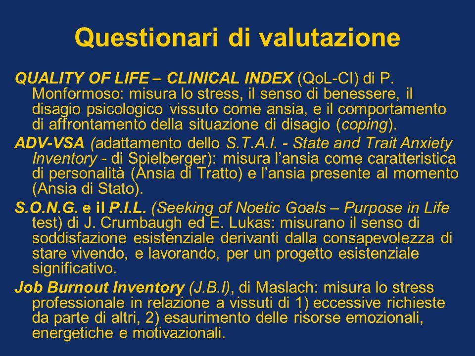 Questionari di valutazione QUALITY OF LIFE – CLINICAL INDEX (QoL-CI) di P. Monformoso: misura lo stress, il senso di benessere, il disagio psicologico