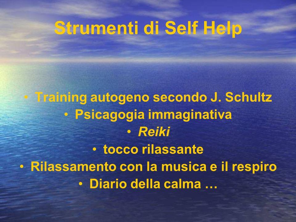 Strumenti di Self Help Training autogeno secondo J. Schultz Psicagogia immaginativa Reiki tocco rilassante Rilassamento con la musica e il respiro Dia