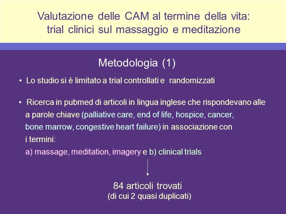 Valutazione delle CAM al termine della vita: trial clinici sul massaggio e meditazione Lo studio si è limitato a trial controllati e randomizzati Meto